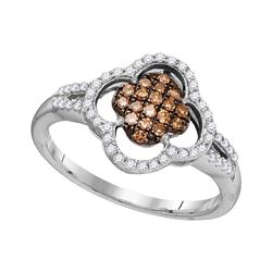 0.33 CTW Cognac-brown Color Diamond Cluster Ring 10KT White Gold - REF-24Y2X