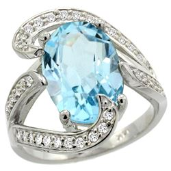 Natural 7.84 ctw blue-topaz & Diamond Engagement Ring 14K White Gold - REF-126G2M
