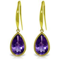 Genuine 5 ctw Amethyst Earrings Jewelry 14KT Yellow Gold - REF-35W2Y