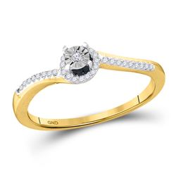 0.16 CTW Diamond Solitaire Bridal Engagement Ring 10KT Yellow Gold - REF-18F2N