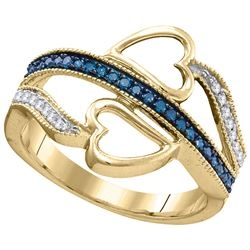 0.21 CTW Blue Color Diamond Double Heart Love Ring 10KT Yellow Gold - REF-18X2Y