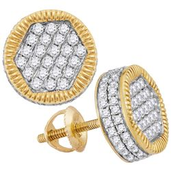 1.1 CTW Mens Diamond Circle 3D Cluster Stud Earrings 10KT Yellow Gold - REF-67Y4X