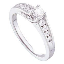 0.50 CTW Diamond Solitaire Bridal Engagement Ring 14KT White Gold - REF-79W4K