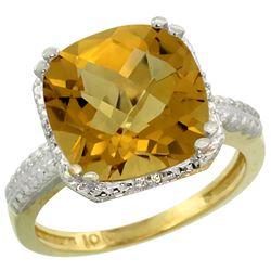 Natural 5.96 ctw Whisky-quartz & Diamond Engagement Ring 10K Yellow Gold - REF-30K2R