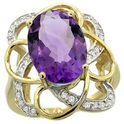 Natural 5.59 ctw amethyst & Diamond Engagement Ring 14K Yellow Gold - REF-59Z6Y