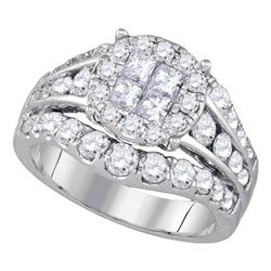 2.1 CTW Princess Diamond Soleil Halo Bridal Ring 14KT White Gold - REF-240X2Y