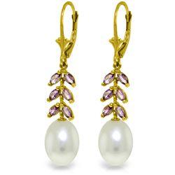 Genuine 9.2 ctw Pearl & Amethyst Earrings Jewelry 14KT Yellow Gold - REF-45K8V