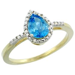 Natural 1.53 ctw swiss-blue-topaz & Diamond Engagement Ring 14K Yellow Gold - REF-25N5G