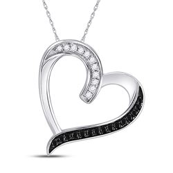0.20 CTW Black Color Diamond Heart Love Pendant 10KT White Gold - REF-13Y4X