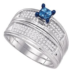 0.40 CTW Princess Blue Color Diamond Bridal Ring 10KT White Gold - REF-37N5F