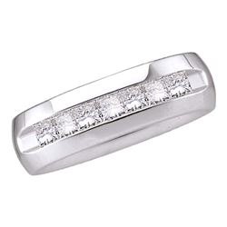 1 CTW Mens Princess Channel-set Diamond 6mm Wedding Ring 14KT White Gold - REF-194Y9X