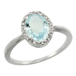 Natural 1.05 ctw Aquamarine & Diamond Engagement Ring 14K White Gold - REF-30V2F