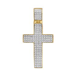 0.50 CTW Mens Diamond Roman Cross Charm Pendant 10KT Yellow Gold - REF-44H9M