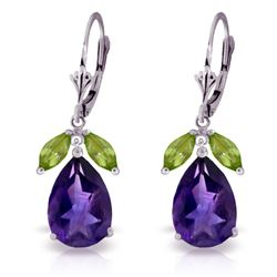 Genuine 13 ctw Amethyst & Peridot Earrings Jewelry 14KT White Gold - REF-61F2Z