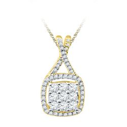 0.50 CTW Diamond Square Cluster Pendant 10KT Yellow Gold - REF-36M2H