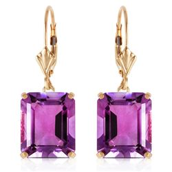 Genuine 13 ctw Amethyst Earrings Jewelry 14KT Yellow Gold - REF-54W2Y