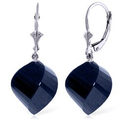 Genuine 30.5 ctw Sapphire Earrings Jewelry 14KT White Gold - REF-44M4T