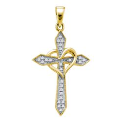 0.10 CTW Diamond Cross Heart Pendant 10KT Yellow Gold - REF-8F9N