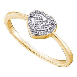 0.08 CTW Diamond Delicate Heart Ring 14KT Yellow Gold - REF-13N4F