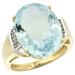 Natural 11.02 ctw Aquamarine & Diamond Engagement Ring 10K Yellow Gold - REF-137Y4X