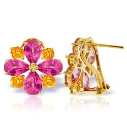Genuine 4.85 ctw Pink Topaz & Citrine Earrings Jewelry 14KT Yellow Gold - REF-59F5Z