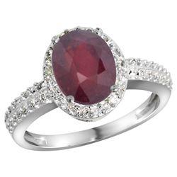 Natural 2.3 ctw Ruby & Diamond Engagement Ring 14K White Gold - REF-42W9K