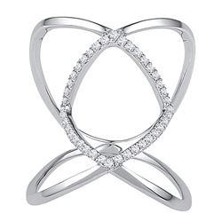 0.16 CTW Diamond Open Strand Knuckle Fashion Ring 10KT White Gold - REF-19K4W
