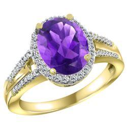 Natural 2.72 ctw amethyst & Diamond Engagement Ring 10K Yellow Gold - REF-45G3M
