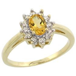 Natural 0.67 ctw Citrine & Diamond Engagement Ring 14K Yellow Gold - REF-48X6A