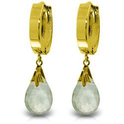 Genuine 6 ctw Green Amethyst Earrings Jewelry 14KT Yellow Gold - REF-47X4M