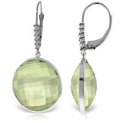 Genuine 36.15 ctw Green Amethyst & Diamond Earrings Jewelry 14KT White Gold - REF-95F5Z