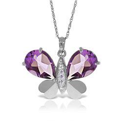 Genuine 6.6 ctw Amethyst & Diamond Necklace Jewelry 14KT White Gold - REF-126Z3N