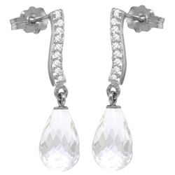 Genuine 4.78 ctw White Topaz & Diamond Earrings Jewelry 14KT White Gold - REF-46M2T