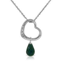 Genuine 3.33 ctw Emerald & Diamond Necklace Jewelry 14KT White Gold - REF-46W2Y