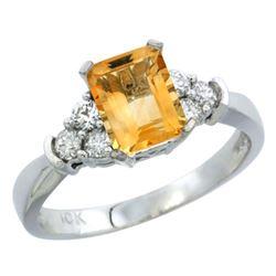 Natural 1.48 ctw citrine & Diamond Engagement Ring 14K White Gold - REF-52A3V