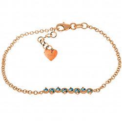 Genuine 1.55 ctw Blue Topaz Bracelet Jewelry 14KT Rose Gold - REF-55H3X