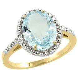 Natural 2.12 ctw Aquamarine & Diamond Engagement Ring 14K Yellow Gold - REF-44V7F