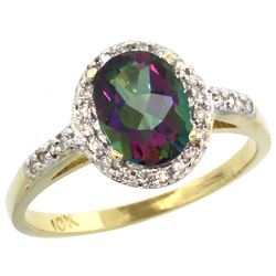 Natural 1.3 ctw Mystic-topaz & Diamond Engagement Ring 14K Yellow Gold - REF-32K2R