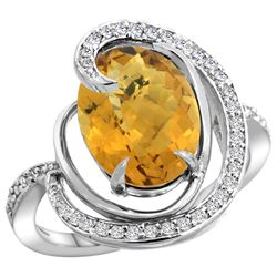 Natural 6.53 ctw quartz & Diamond Engagement Ring 14K White Gold - REF-70H6W