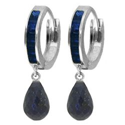Genuine 7.8 ctw Sapphire Earrings Jewelry 14KT White Gold - REF-45T8A
