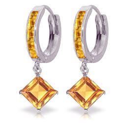 Genuine 4.4 ctw Citrine Earrings Jewelry 14KT White Gold - REF-53K6V