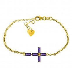 Genuine 1.15 ctw Amethyst Bracelet Jewelry 14KT Yellow Gold - REF-53K2V
