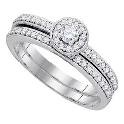 0.50 CTW Diamond Bridal Wedding Engagement Ring 10KT White Gold - REF-44K9W