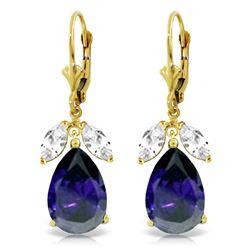 Genuine 10.30 ctw White Topaz Earrings Jewelry 14KT Yellow Gold - REF-92A6K