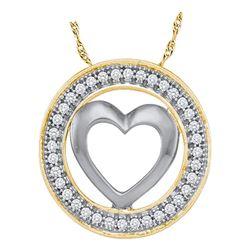 0.10 CTW Diamond Encircled Heart Pendant 10KT Yellow Gold - REF-11W2K