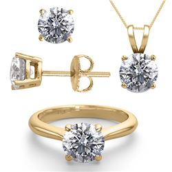 14K Yellow Gold SET 3.0CTW Natural Diamond Ring, Earrings, Necklace - REF-759X8F-WJ13349