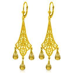 Genuine 4.2 ctw Citrine Earrings Jewelry 14KT Yellow Gold - REF-57W3Y