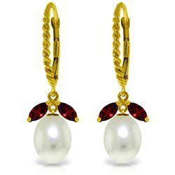 Genuine 9 ctw Garnet & Pearl Earrings Jewelry 14KT Yellow Gold - REF-39Z3N