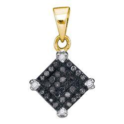 0.15 CTW Black Color Diamond Diagonal Square Pendant 10KT Yellow Gold - REF-8F9N