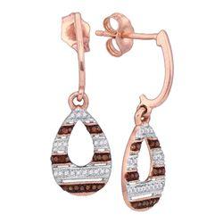 0.18 CTW Red Color Diamond Teardrop Dangle Earrings 10KT Rose Gold - REF-26Y9X